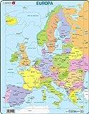 Larsen A8 Mapa político de Europa para los niños más pequeños, edición en Español, Puzzle de Marco con 37 Piezas