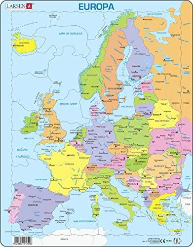 A8 Mapa político de Europa para los niños más pequeños, edición en Español, Puzzle de Marco con 37 Piezas