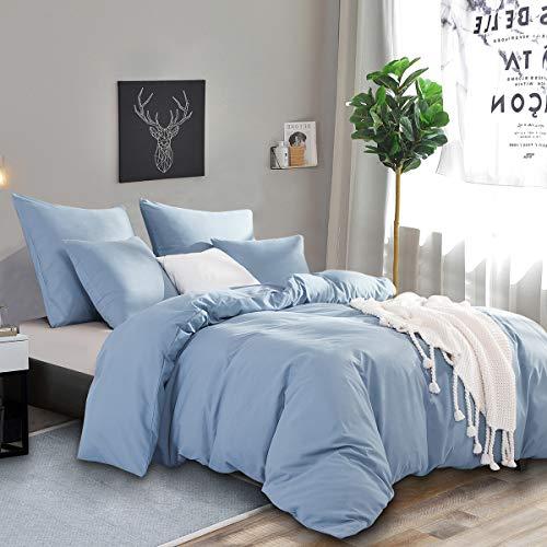 RUIKASI Funda nórdica de 220 x 240 cm, color azul, funda nórdica de 220 x 240 cm, suave y transpirable, ropa de cama de microfibra (sin funda de almohada)