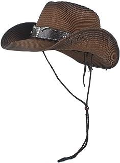 SXQ 100% Straw Hat Women's Men's Hollow Western Cowboy Hat Summer Beach Hat Panama Hat Jazz Sun Hat for Vocation Seaside Beach Hat Sun Hat (Color : Coffee, Size : 56-58)