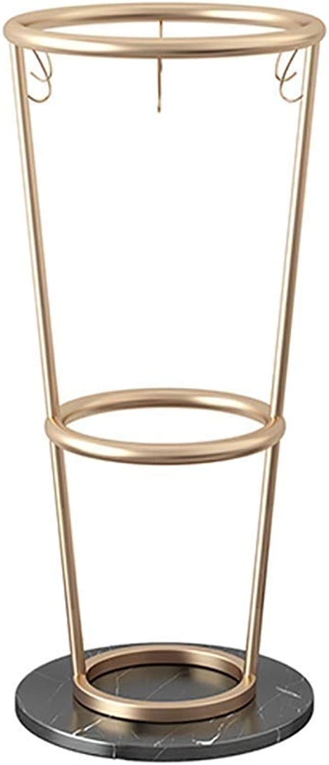 Umbrella Stand gold, Marble Chassis Metal Frame, for Canes Walking Sticks, with Hooks