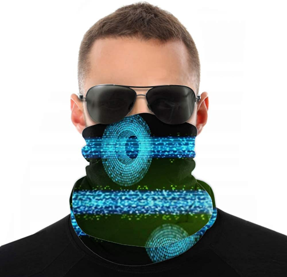 Headbands For Men Women Neck Gaiter, Face Mask, Headband, Scarf Blue Green Light Abstract Technology Background Turban Multi Scarf Double Sided Print Running Headbands For Women For Sport Outdoor
