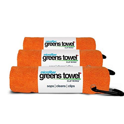 Greens Towel Microfiber, 3 Pack of Orange Crush 16' x 16', Carabiner Clip