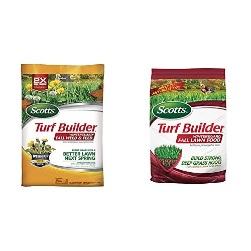 Scotts Turf Builder WinterGuard Fall Weed & Feed 3, 5,000 sq. ft. & Turf Builder WinterGuard Fall Lawn Food, 12.5 lb. - Fall Lawn Fertilizer Builds Strong, Deep Grass Roots - Covers 5,000 sq. ft.