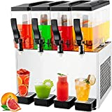 TECSPACE 110V Commercial Beverage Dispenser Cold and Hot ,4 Tanks 40L 12.7 Gallon, Stainless Steel Fruit Juice Beverage Machine 325W Ice Tea Drink