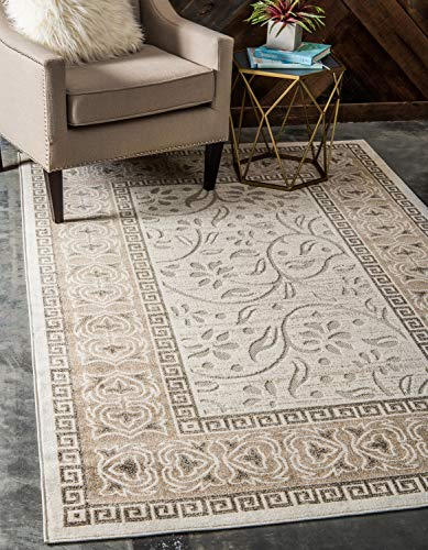 Unique Loom Outdoor Botanical Collection Carved Border Transitional Indoor and Outdoor Flatweave Cream Area Rug (8' 0 x 10' 0)