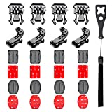 Followsun 25 in 1 Helmet Adhesive Pad Sticker Flat Curved Mounts with Buckle Clip Base Mount J-Hook Buckle for DJI OSMO Pocket AKASO Campark ACT74 ACT76 APEMAN Crosstour Sjcam Yi Victure