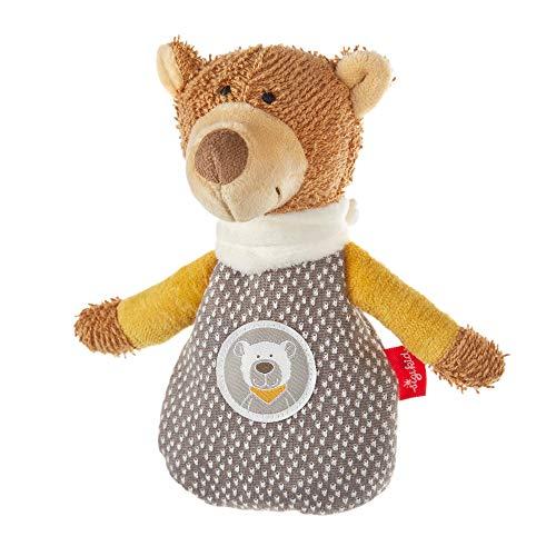 SIGIKID Sonajero para niños y niñas HoniBoniBear, con cojín térmico de huesos de cereza, juguete para bebés a partir de 0 meses, color marrón/gris, 39431