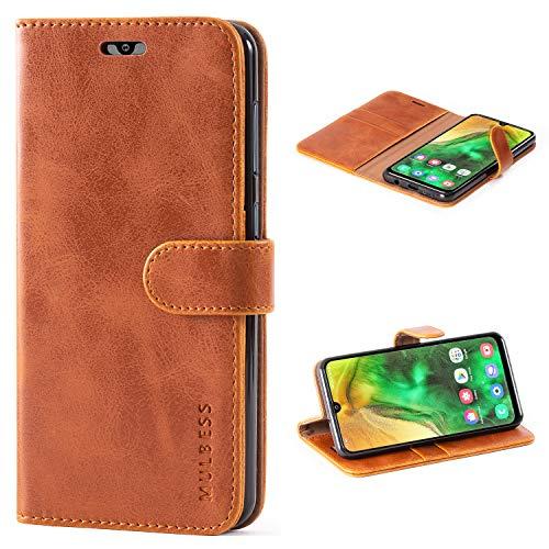 Mulbess Handyhülle für Samsung Galaxy A50 Hülle, Leder Flip Hülle Schutzhülle für Samsung Galaxy A50 / A30s / A50s Tasche, Cognac Braun