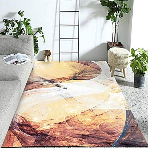 Rugyw - Alfombra de habitación infantil insonorizada, diseño abstracto, color marrón