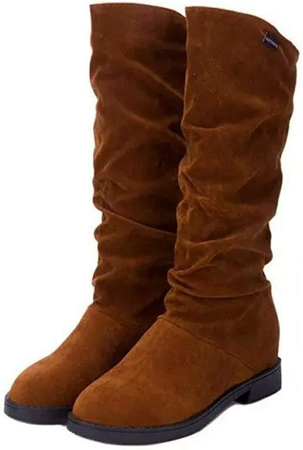 Jim Hugh Women Mid Calf Boots Height Increasing shoes Round Toe Fashion Winter Footwear