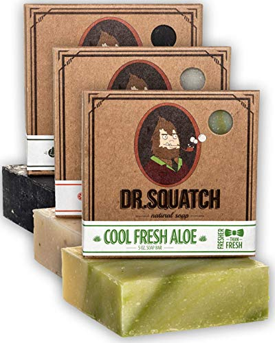 Dr. Squatch Men's Soap Variety Pack – Manly Scent Bar Soaps: Pine Tar, Cedar Citrus, Cool Fresh Aloe – Handmade with Organic Oils in USA (3 Bars)