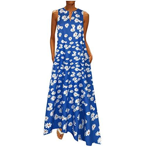 Tomatoa Damen Sommerkleid Elegant Ärmellos Kleid Maxi Kleid Frauen Kleider Casual Strandkleid Lange Kleid Partykleid T-Shirt Kleider Freizeitkleider Große Größe S - 5XL