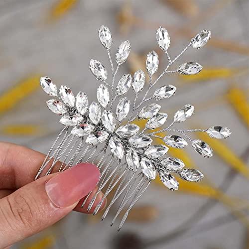 Runmi Peines para el pelo de novia, color plateado, para novia, accesorios...