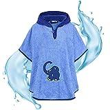 Smithy® Kinder-Badeponcho aus Baumwollfrottee – Schadstofffrei und Ökotex zertifizierter Baby Badeponcho – blauer Elefant von Die Sendung mit der Maus