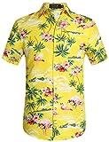 SSLR Camisa Manga Corta con Estampado de Flamencos y Flores Estilo Hawaiana de Hombre (X-Large, Amarillo)