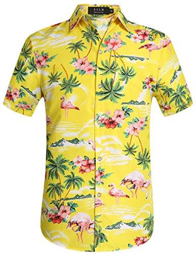 SSLR Camisa Manga Corta con Estampado de Flamencos y Flores Estilo Hawaiana de Hombre (Small, Amarillo)