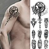 9 Piezas Impermeable Tatuaje Temporal Pegatina Mecánico Biónico Engranaje Flash Tatuajes 3D Robot Electricidad Arte Brazo Falso Tatuaje Mujeres Hombres