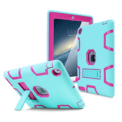iPad 2 Case,iPad 3 Case,iPad 4 Case, AICase Kickstand Shockproof Heavy Duty High Impact Resistant Rugged Hybrid Three Layer Full Body Protection Case with Stylus for iPad 2/3/4 (Light Green/Rose)