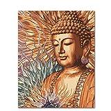 Empty Pintar por números Buda para Adultos Cuadro de Pinturas con numeros con Pinceles y Colores Brillantes -20X16 Inch Sin Marco