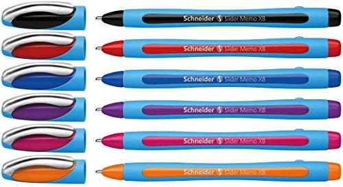 Schneider Slider Memo XB Ballpoint Pen, Asstd. Colors, Pack of 6 (150296) Photo #7
