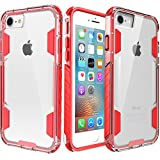 zisure iPhone 8 Case,iPhone 7 Case, [Rock Sugar] Heavy Duty Crystal Hard Clear Case Durable Shatterproof Sport Phone Cover for iPhone 8 iPhone 7 4.7 inch (Red)