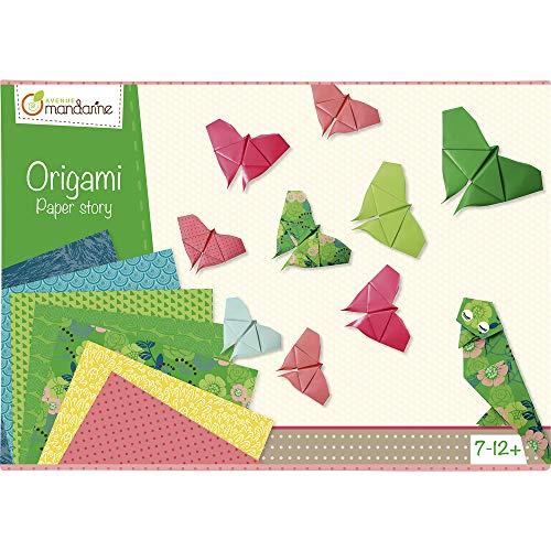 AVENUE MANDARINE - Boîte Créative Origami - Kit d'Initiation Origami pour Enfants dès 7 ans - 20 Feuilles Origami 15x15cm Bicolores + 20 Feuilles 20x20cm à Motifs - A Partir de 7 Ans - 42720O