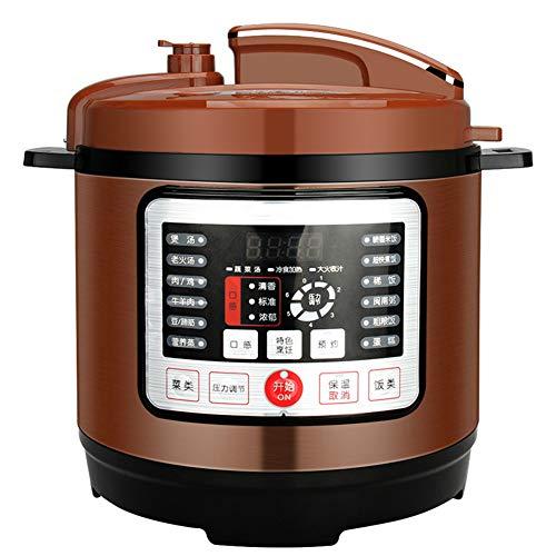 Elektrische snelkookpan, 8L programmeerbare snelkookpan, multi fornuis: rijstkokers, langzaam fornuizen, groentestomer, diepe koekenpan, bruin, yoghurt machines, kachels