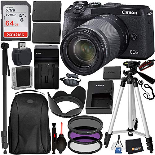 Canon EOS M6 Mark II Mirrorless Digital Camera with 18-150mm Lens & EVF-DC2 Viewfinder (Black) (3611C021) and 17PC Professional Bundle – Includes + SanDisk Ultra 64GB SDXC Memory Card + Carrying Case