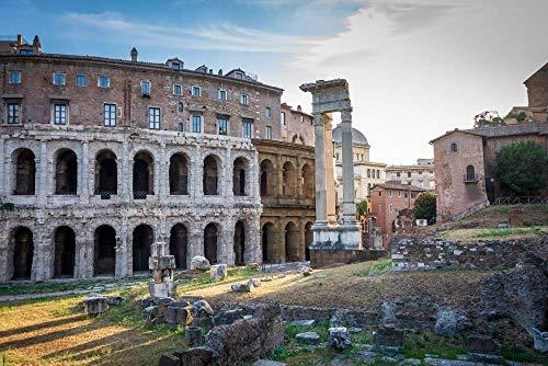 HQHff Monumento histórico del Coliseo de Roma,Puzzles 150 Piezas,3D DIY Puzzles de Madera Adultos Regalo de Juguete Educativo para niños;15x10cm