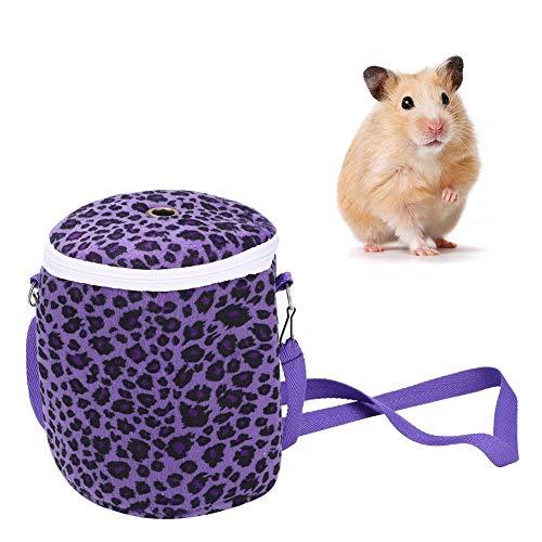 Hamster draagtas, draagbare korte pluche kleine huisdier reistas enkele schouder warme uitgaande tas voor egel muis rat eekhoorn Syrische hamster(Purper)