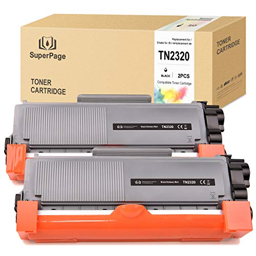 Superpage Kompatibel für Brother TN-2320 2310 TN2320 Toner für Brother HL-L2340DW L2300D L2360DN L2365dw L2360dw L2320d L2380dw MFC-L2700DW L2720DW L2740dw DCP-L2520DW L2540DN L2500D L2540DW(2Schwarz)