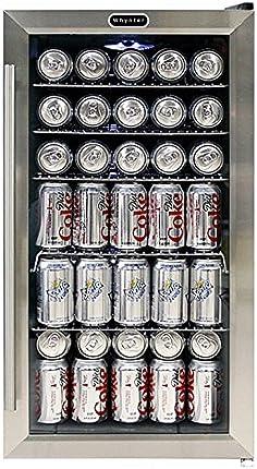 Whynter BR-130SB - refrigerador para bebidas con ventilador interno, negro/cero inoxidable