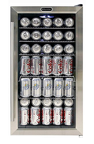 Whynter BR-130SB Beverage Refrigerator with Internal Fan, Black/Stainless Steel