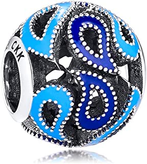 ❤925 Solid Sterling Silver❤ Charm Dazzling Blue CrystalRadiant Hearts Star Bead Charms Fit Pandora Charms B...