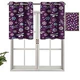 Hiiiman - Set di 1 tende corte con occhielli e pannelli eleganti, con motivo a pois, motivo floreale, 137,2 x 45,7 cm, decorazione per bagno, camera da letto, soggiorno