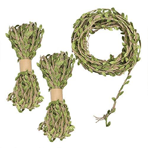 Nastro a foglia di juta da 98 piedi 5 mm, corda da appendere a parete in juta naturale YuCool con foglie verdi artificiali per matrimonio rustico, decorazioni per feste nella giungla (3 rotoli)