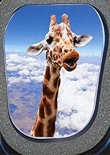 Portal Giraffe Looking at Airplane Window Funny/Humorous Birthday Card