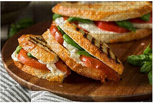 1000 piezas de albahaca a la parrilla saludable Mozzarella caprese panini Stock de alimentación saludable Rompecabezas de madera DIY Niños Rompecabezas educativos Regalo de descompresión para adultos
