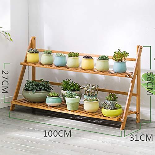 Jardinière en bambou au sol, pliable, multi-couches, balcon intérieur, étagère de rangement pour bacs à linge (taille : 100cm)