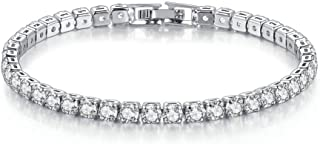 14K Gold Plated 4mm Cubic Zirconia Classic Tennis Bracelet for Women Wedding Jewelry Gift Size 6.5-7.5 Inch