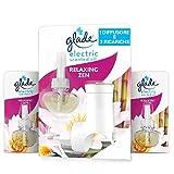 Glade Essential Oil Elettrico, profumatore per ambienti agli olii essenziali, fragranza Relaxing Zen, confezione da 1 Base + 3 Ricariche