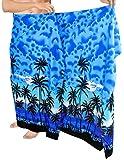 LA LEELA árbol de Ropa de Playa plama Impresa Traje de baño Traje de baño Partido de los Hombres Casuales Relajarse Pareo Azul_G921 72'X42'