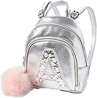 Justice Girls Pearl Initial Mini Mini Backpack Silver Irridescent Pom Pom Bag (H)