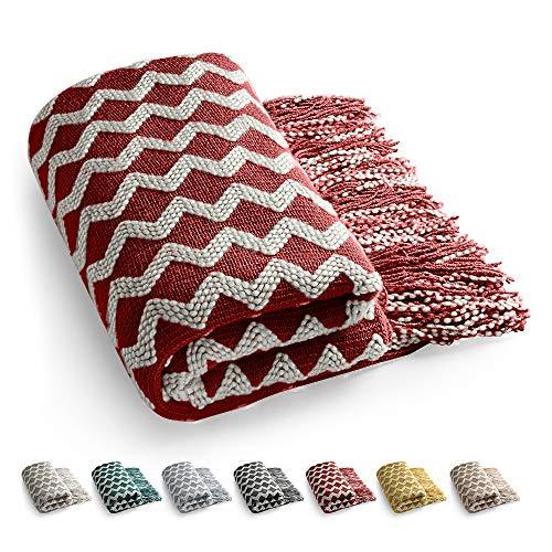 Manta Manta para sofá Manta de sofá Elegante Borlas Manta de Cama Manta Decorativa para Ver la Televisión en la Silleta, Sofá y Cama - Regalos-140x220cm (Rojo)