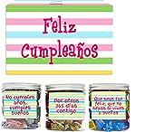SMARTY BOX Caja Regalo Caramelos y Gominolas Cumpleaños Hombre y Mujer, Pareja, Amigos, Cesta Golosinas Regalo Chuches con Mensajes Dulces sin Gluten, Fabricado en España