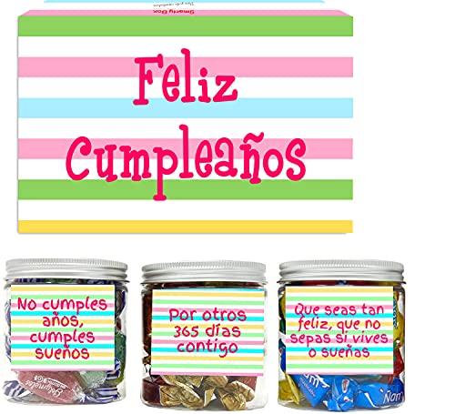 SMARTY BOX Caja Regalo Chuches Caramelos y Gominolas Cumpleaños Hombre y Mujer, Pareja, Amigos, Cesta Golosinas con Mensajes Dulces sin Gluten, Fabricado en España