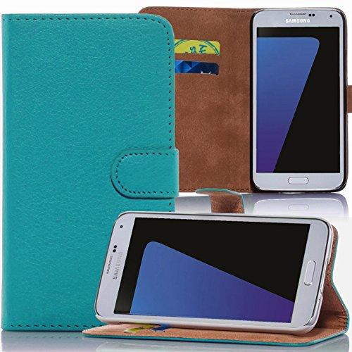 numerva Microsoft Lumia 935 Hülle, Schutzhülle [Bookstyle Handytasche Standfunktion, Kartenfach] PU Leder Tasche für Microsoft Lumia 630 Wallet Case [Türkis]