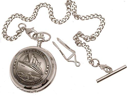 Gravur im Lieferumfang enthalten – Titanic Taschenuhr mit Zinn-Vorderseite, mechanisches Design 64
