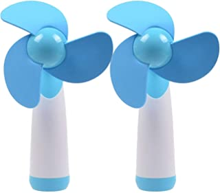 Ogrmar Mini Handheld Fan Personal Fan Battery Soft Foam Blades Powered for Home and Travel 2PC Blue (2)